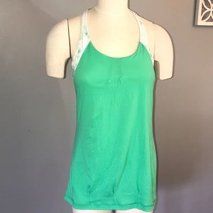 Lululemon green floral tank top size 10
